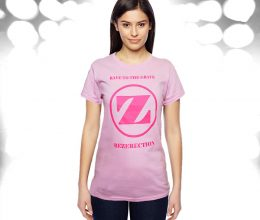 Ladies Pink Big Z Rave To The Grave Tshirt girl